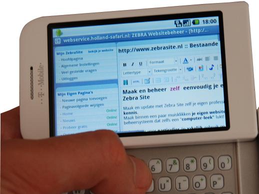 Met ZebraSite en T-mobile G1 je website beheren